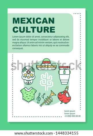 Mexican culture brochure template layout. Mexico holiday. Flyer, booklet, leaflet print design with linear illustrations. Vector page layouts for magazines, annual reports, advertising posters
