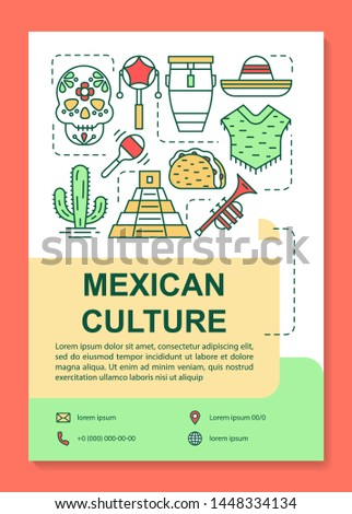 Mexican culture brochure template layout. Mexico sights flyer, booklet, leaflet print design with linear illustrations. Vector page layouts for magazines, annual reports, advertising posters