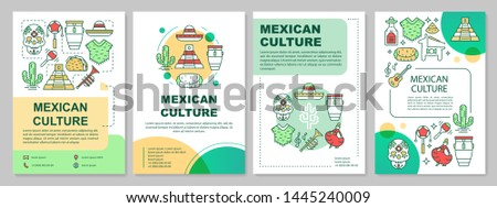Mexican culture brochure template layout. Mexico traditions. Flyer, booklet, leaflet print design with linear illustrations. Vector page layouts for magazines, annual reports, advertising posters