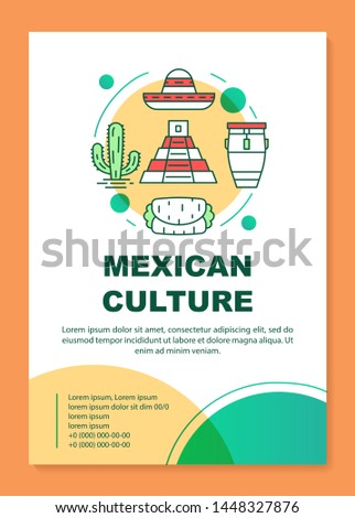 Mexican culture brochure template layout. Mexico travel. Flyer, booklet, leaflet print design with linear illustrations. Vector page layouts for magazines, annual reports, advertising posters