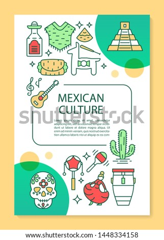 Mexican culture brochure template layout. Travel to Mexico. Flyer, booklet, leaflet print design with linear illustrations. Vector page layouts for magazines, annual reports, advertising posters