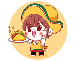 Mexican cute chef with tacos cartoon illustration Premium Vector