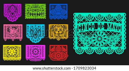 Mexican Day of Dead, papel picado isolated paper cutting flags templates. Vector traditional Mexico Dia de los muertos laser cutting decoration with floral pattern, mariachi skulls, sun and birds Foto stock ©