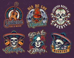Mexican Day of Dead vintage emblems with guitar winged fiery heart in wire sugar skulls in sombrero hats crossbones maracas woman head with spooky makeup isolated vector illustration