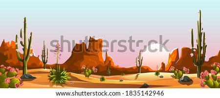 Mexican desert. Blooming cacti. The mountains. Sunset. Landscape. Saguaro cactus.  Stock photo ©