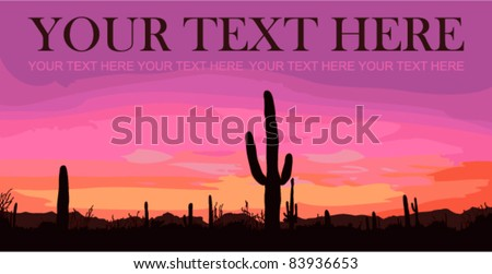 Mexican desert sunset with cactus. Vector illustration. Place for your text.