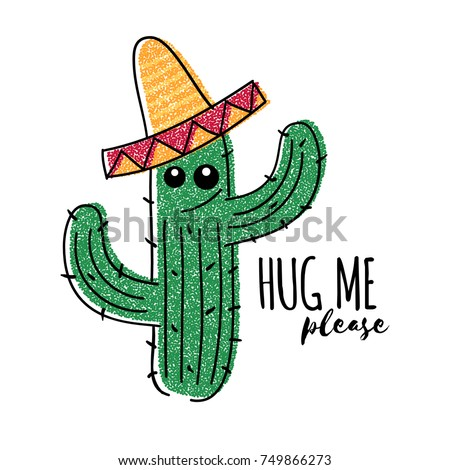 mexican doodle cactus with hug