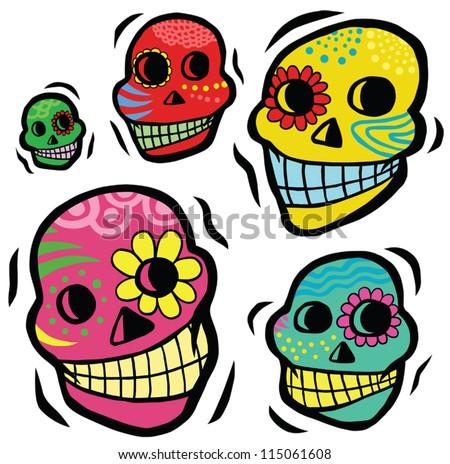mexican festive skulls