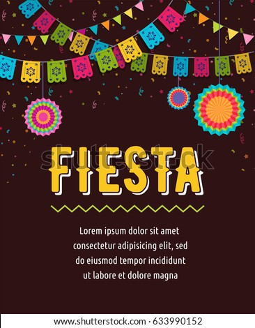 Shutterstock Mexican Fiesta background, banner and poster design with flags, decorations, greeting card