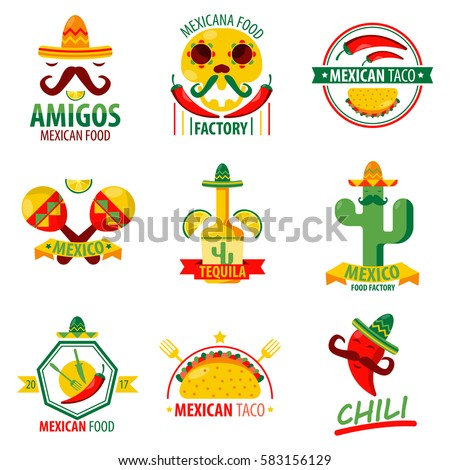 Shutterstock Mexican food and drinks logo emblems vector poster on white. Collection of mexican ethnic cuisine colorful label. Menu elements with fast food meal, red chilli, green cactus, tequila beverage