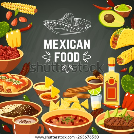 Shutterstock Mexican food background with traditional spicy meal and chalkboard hat vector illustration