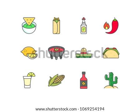 Mexican food, cuisine flat line colored icons set with tortilla, guacamole, burritos, tequila, hot pepper, lemon, salsa bowl, sombrero, tacos, corn, sauce bottle, cactus.