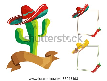 Mexican food menu design set: funny cactus cartoon character illustration and billboard over white.