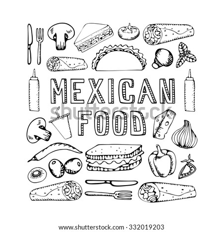 Mexican food. Mexican kitchen. Mexican food menu for restaurant, cafe. Mexican food menu.  Vector illustration
