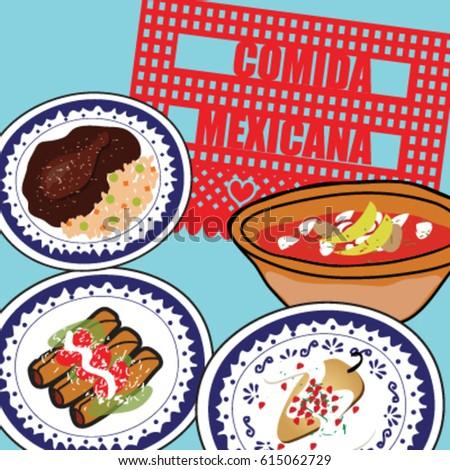 Vector Images Illustrations And Cliparts Mexican Food Pozole Mole Rojo Chiles En Nogada Tacos De Pollo Hqvectors Com