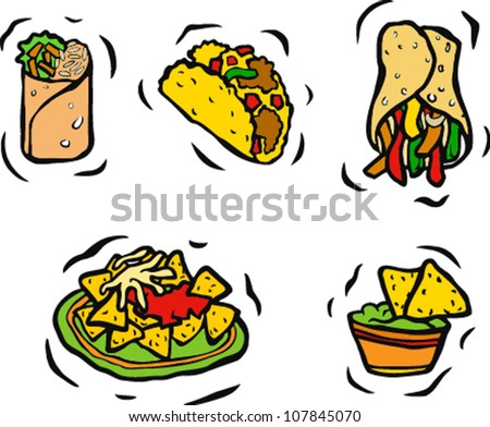 mexican dishes clip art - clipart & vector •