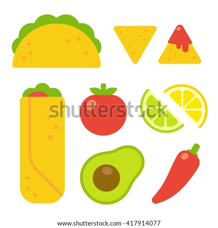 Mexican food set in flat vector cartoon style. Taco and burrito, nachos with salsa, traditional ingredients like tomato, avocado and chili pepper.