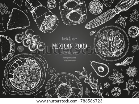 Mexican food top view frame. A set of classic mexican dishes . Food menu design template. Vintage hand drawn sketch, vector illustration. Mexican cuisine. #786586723