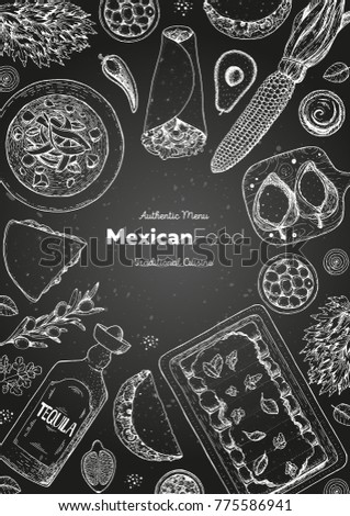 Mexican food top view frame. A set of mexican dishes with enchiladas, burritos, tortilla soup, poblanos, tacos. Food menu design template. Vintage hand drawn sketch vector illustration.Mexican cuisine