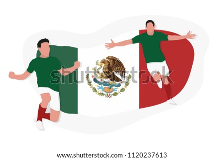 Mexican football team player celebration 2018 championship vector illustration soccer Mexico