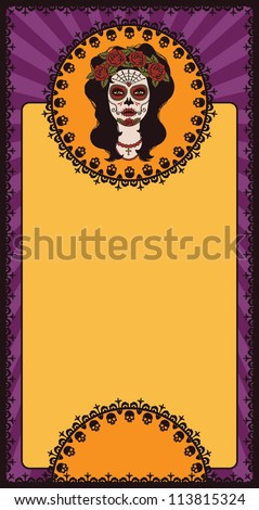 Mexican frame with sugar skull girl