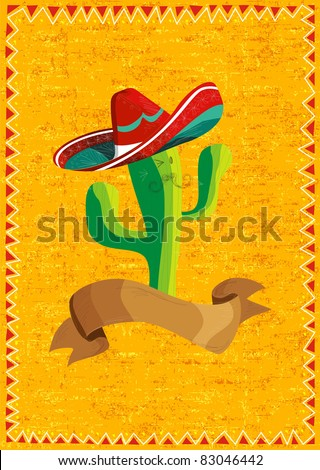 Mexican funny cactus cartoon character and ribbon illustration over grunge background. Useful for menu design.