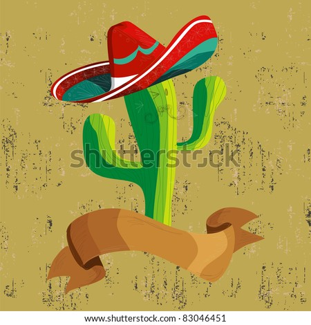 Mexican funny cactus cartoon character illustration over grunge background. Useful for menu design.