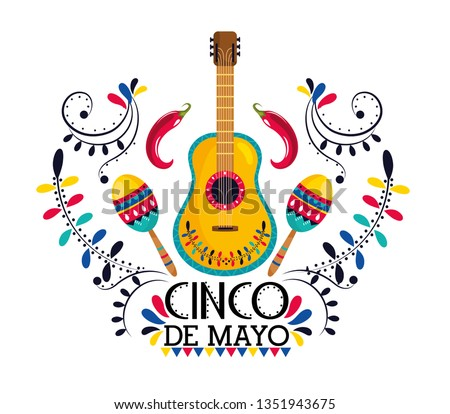 mexican guitar with maracas and