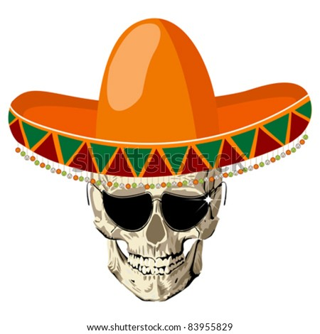 "Mexican human skull with sombrero hat and eye glasses, conceptual icon for ""Day of the Dead"" holiday"