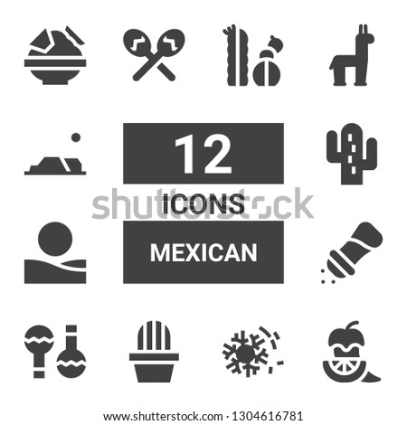 mexican icon set collection of