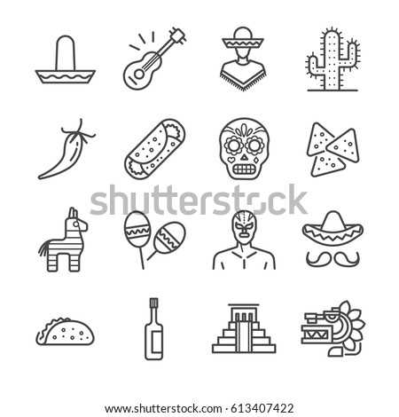 Mexican icons set