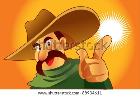 Mexican man pointing
