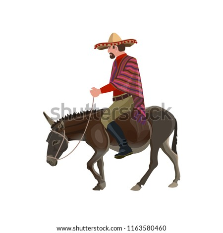 Mexican man riding his donkey. Vector illustration isolated on white background