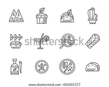 Mexican menu for street food, restaurant. Dinner and lunch. Collection of line style vector icons