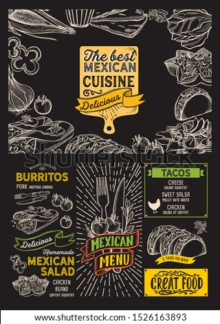 Mexican menu template for restaurant on a blackboard background vector illustration brochure for food and drink cafe. Design layout with lettering and doodle hand-drawn graphic icons.