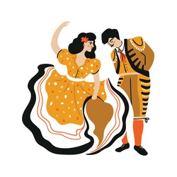Mexican or Spanish man and woman vector cartoon characters with national clothes. Matador and beautiful lady. Vector bullfight dancers illustration isolated on the white background.