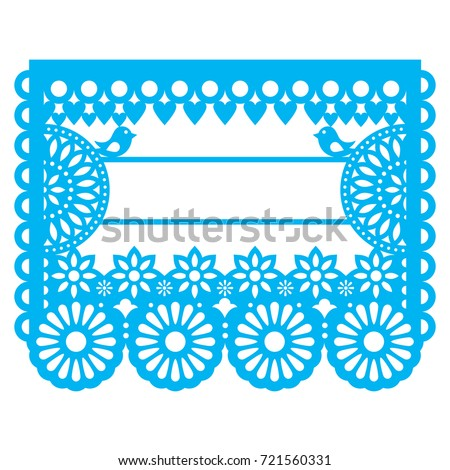 Mexican Papel Picado blank text template design - traditional vector garland pattern with floral pattern   Paper decoration inspired by traditional art from Mexico in blue isolated on white Foto stock ©