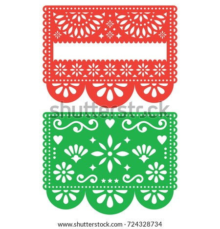 Shutterstock Mexican Papel Picado vector template design set, cutout paper decorations flowers and geometric shapes, two party banners Traditional green and orange banner form Mexico, Blank text floral composition