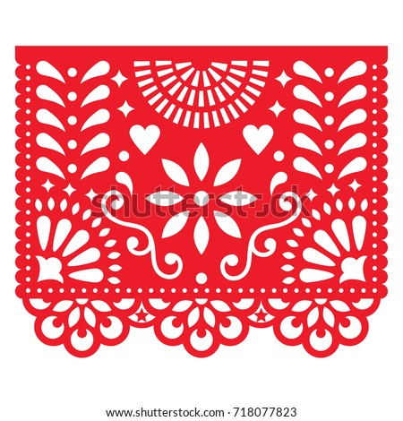Shutterstock Mexican paper decorations - Papel Picado vector design, traditional fiesta banner inspired by garlands in Mexico    Cut out template with flowers and leaves, festive floral composition in red on white