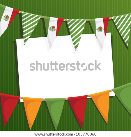 mexican party card with bunting and space for text