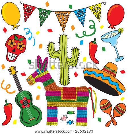 ... Clip art individually grouped. Great for Cinco de Mayo! - stock vector