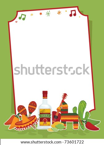 mexican party frame in red and green ready for text