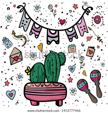 Mexican Party. Mexican traditional holiday. Cinco de Mayo Mexican traditional fiesta and Mexico holiday. - Vector. Vector illustration #1453777466