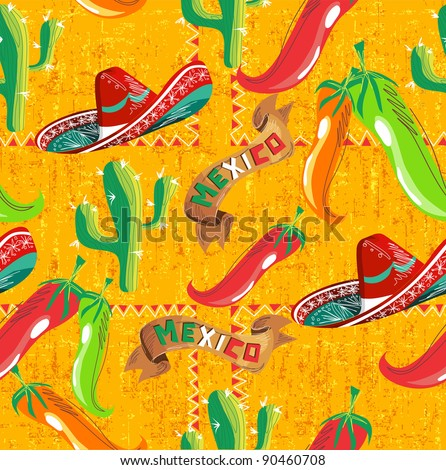 Mexican pattern with cactus, hat and chill illustration over grunge background. Vector file useful for menu design.