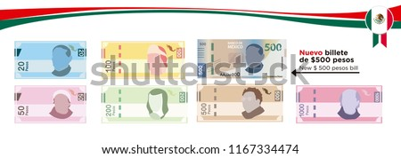 Mexican Pesos, bills of 20, 50, 100, 200, 500 and the new Mexican 500 peso bill