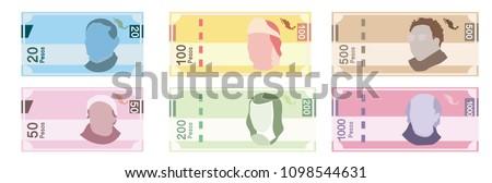 mexican pesos  bills of 20  50