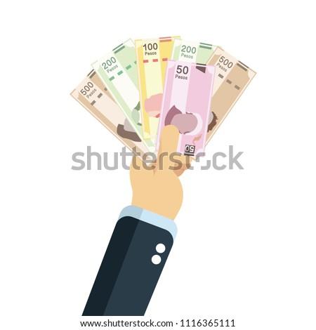 Mexican pesos, bills of 20, 50, 100, 200, 500. Billetes mexicanos, spanish text Foto stock ©