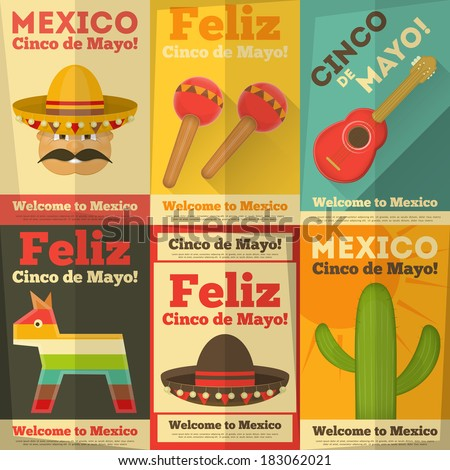 mexican posters in retro style. ...
