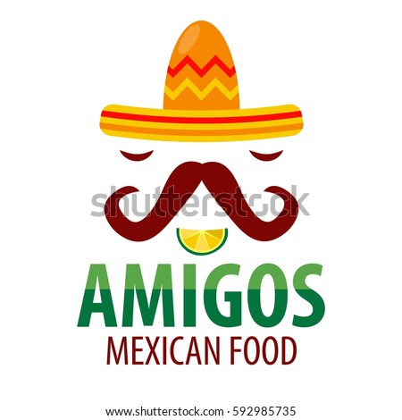 Shutterstock Mexican restaurant Amigos logo template of sombrero hat with mustaches, lemon lime slice mouth and chili pepper eyes. Mexico food factory or sign or tequila bar vector isolated icon