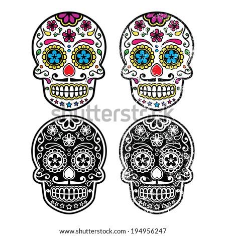 mexican retro sugar skull  dia